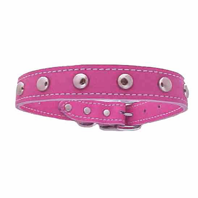 1/2 inch Pink Leather Stud Collar