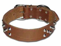 Wide Cone Studded Leather Collar