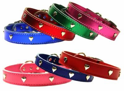 1 in wide Leather Heart Collars