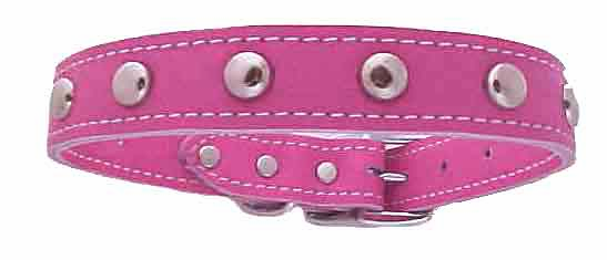 1 inch Pink Leather Stud Collars