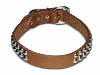 2 Row Cone Studded Leather Collar