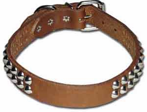 1 inch wide 2-Row Cone Studded Leather Dog Collar