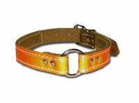 1 inch wide Reflective Leather Dog Collar
