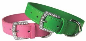 3/4 in Leather Collar with Rhinestone Buckle