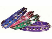 3/4 In Metallic Leather Spike Collars for medium dogs