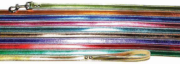 Leather Leash Metallic 3/4 inch wide x 4 Ft