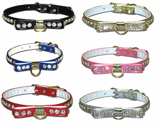 Bow Rhinestone Dog Collars  3/8 in wide