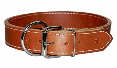 Dee-in-Front Two-Ply Leather Dog Collar 1-1/2 Inches Wide