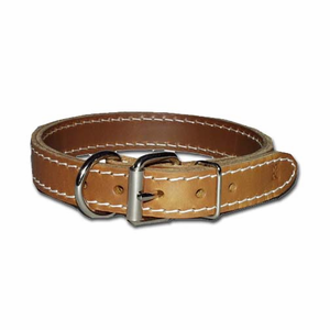 Dee-in-Front Two-Ply Leather Dog Collar 1 Inch Wide
