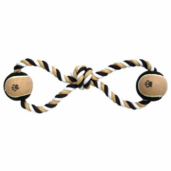 Dental Cotton Tug Rope Dog Toy with Two Tennis Balls