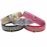Dog Collars with 3 Rows of Rhinestones