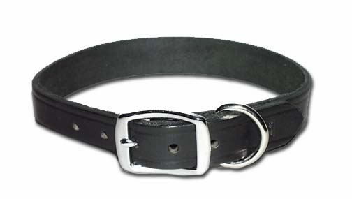 Flat Latigo Leather Dog Collar 3/4 Inch Wide