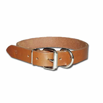 Heavy Oiled Dee in Front Bully Dog Collar 1 Inch Wide