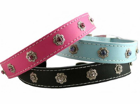 Leather and Crystals Collars  3/4 inch wide