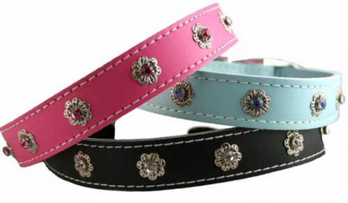 Leather and Crystals Dog Collars  3/4 inch wide
