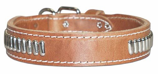 Leather Collar with Oblong Studs