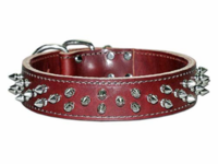 Leather Collar with Spikes 1-1/2 inch