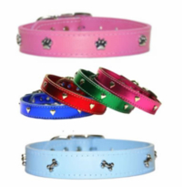 Leather Collars with Bones, Paws or Hearts