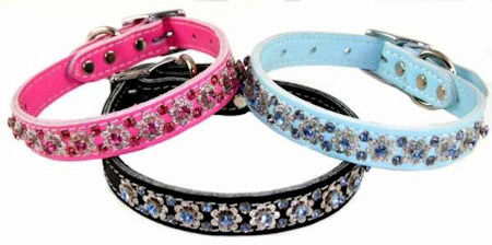 Leather Collars with Rhinestones  1 inch wide