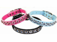 Leather Dog Collars with Rhinestones  1 inch wide