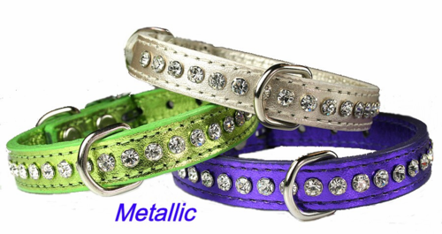 Signature Leather and Crystals Dog Collar, 1/2 inch wide