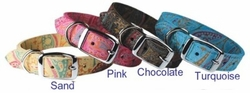 Paisley Leather Dog Collar size Small