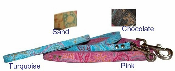 Paisley Leather Dog Lead 3/4 in x 4 ft.