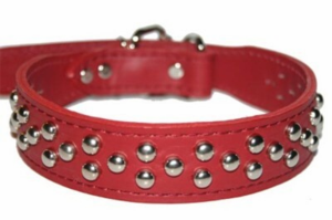 Red Leather Collar with Studs