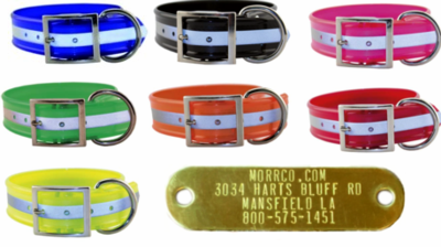 Wide Reflective Dog Collar with Nameplate