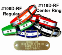 Reflective Sunglo Dog Collar with attached Name Plate