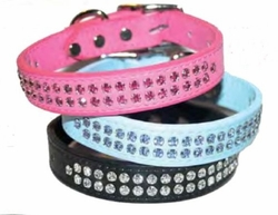 Rhinestone Leather Dog Collar