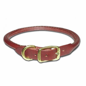 Round Latigo Leather Dog Collar 3/8 Inch Wide
