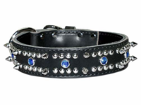 Spiked and Jeweled Leather Collar