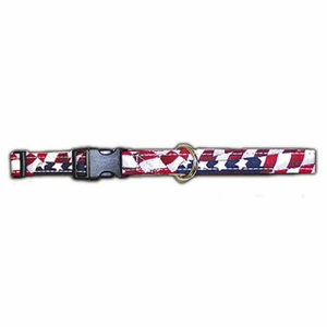 USA Strars and Stripes 1 Inch Fabric Dog Collar