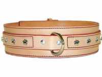 Wide Jumbo Leather Collar with Paws