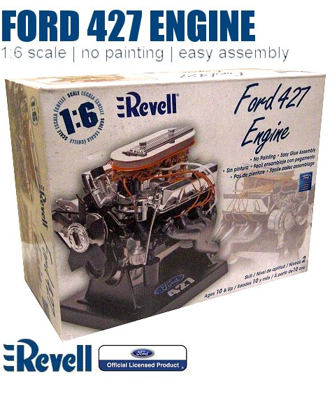 1/6-Scale Ford 427 Engine Plastic Model by Revell