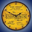 1906 Wright Flyer Patent Wall Clock, Lighted