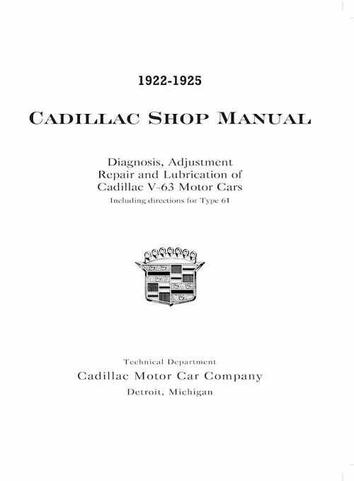1922-1925 Cadillac Shop Manual - Book No. 6036