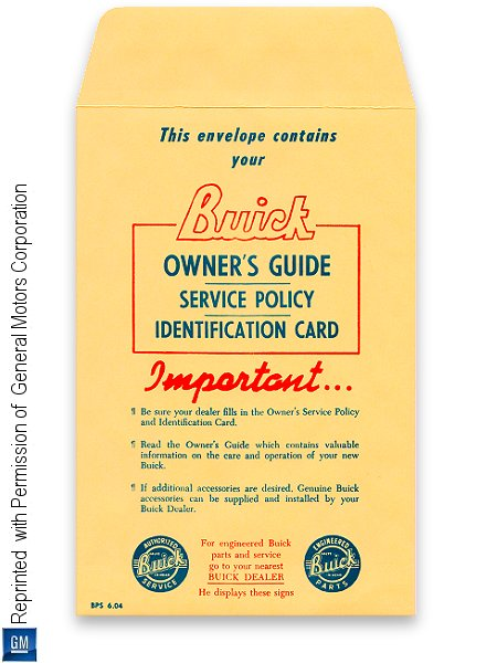 1937-1949 Buick Owner's Guide, Service Policy, Identification Card Envelope