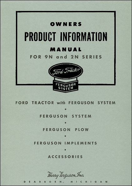 1939-1947 Ford 9N, 2N Series Owners Product Info