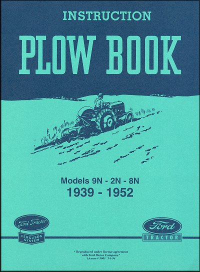 1939-1952 Ford Ferguson Model 9N, 2N, 8N Instruction Plow Book