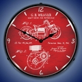 1941 Indian Motorcycle Patent Wall Clock, LED Lighted