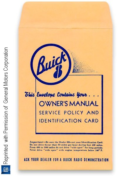 1950-1960 Buick Owner's Guide, Service Policy, Identification Card Envelope