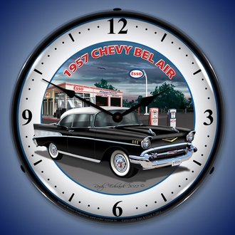 1950's Chevy Bel Air Wall Clocks, LED LED Lighted