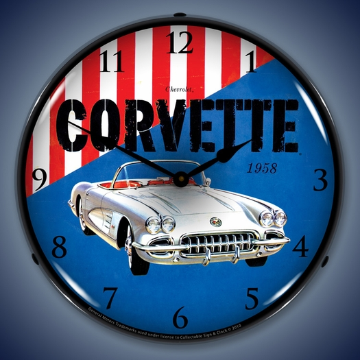 1958 Corvette LED Lighted Clock
