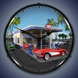 1959 Corvette & Gulf Gas Station LED Lighted Clock