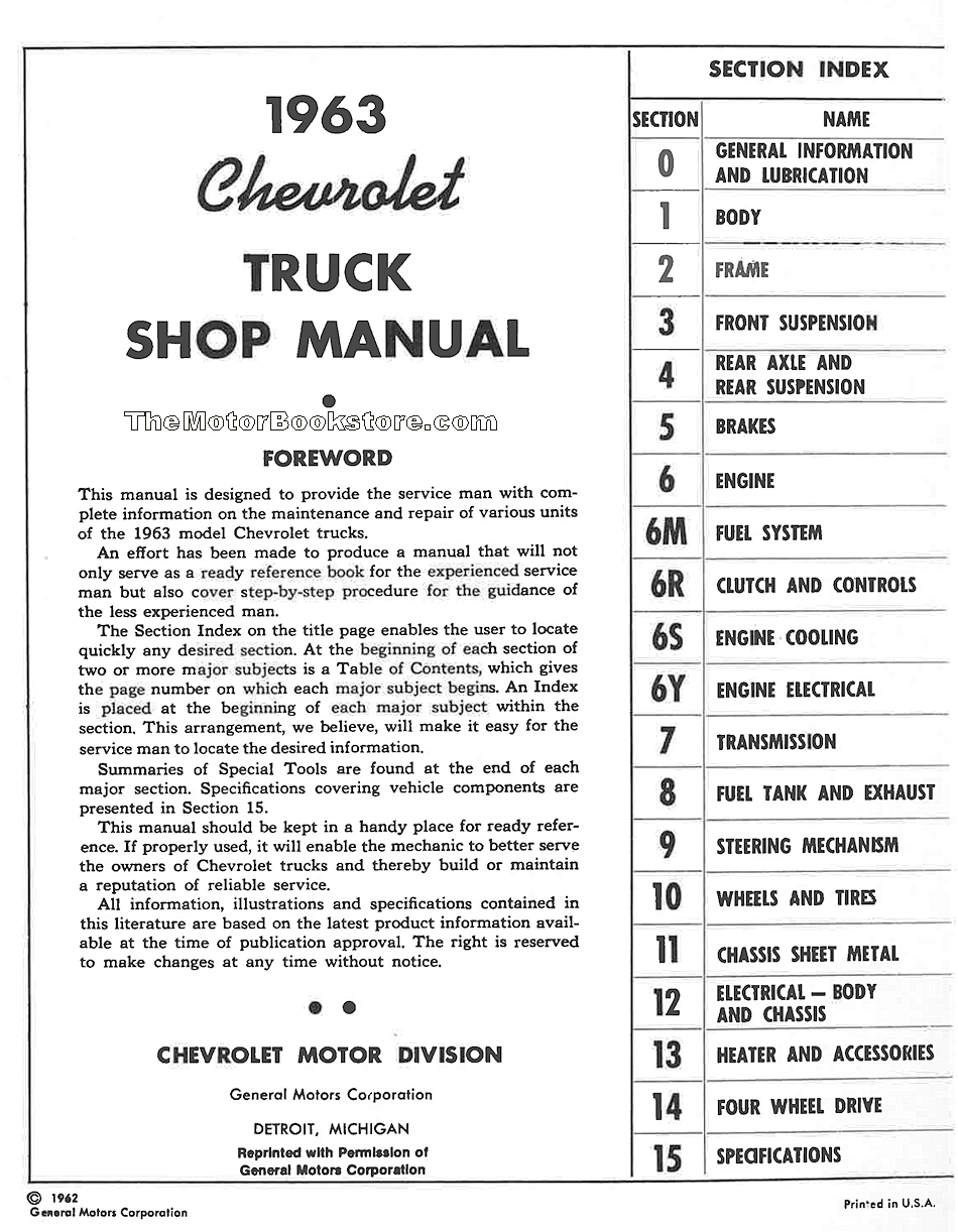 1963 Chevrolet Truck Shop Manual 10-80 Series