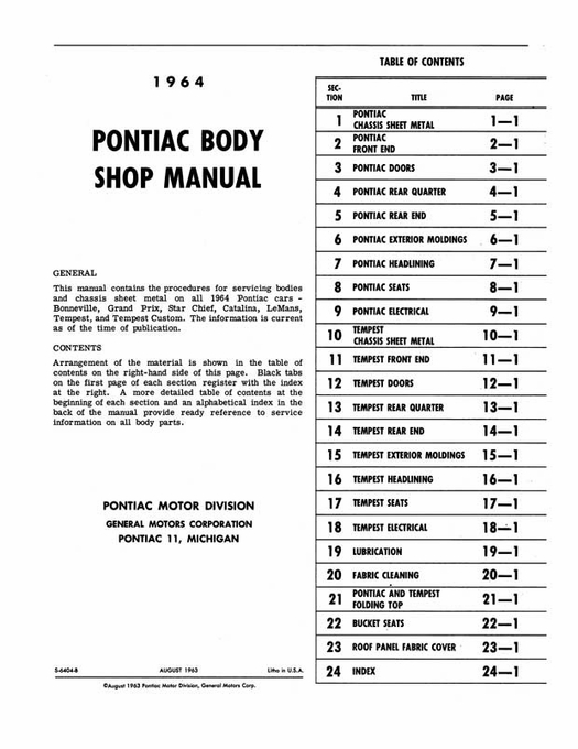 1964 pontiac body shop manual bonneville grand prix catalina oem rh themotorbookstore com