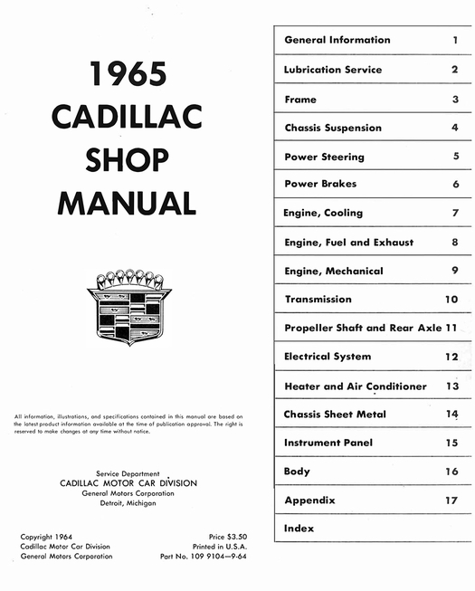 1965 Cadillac OEM Factory Shop Manual