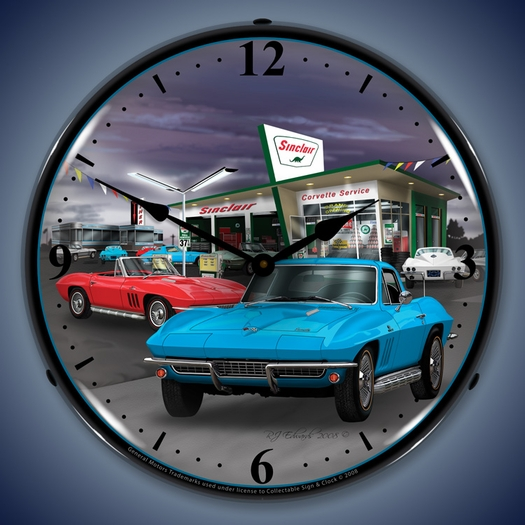 1966 Corvette & Sinclair Gas Station LED Lighted Clock